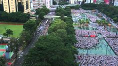 Hong Kong crowds rally for democracy .Hong Kong Victoria Park, where the march began (day time)