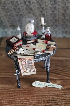 Dolls house miniature distressed gothic by NightfallMiniatures, £35.00