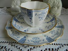 1889 ROYAL CROWN DERBY Trio Blue and White Pattern Gilded
