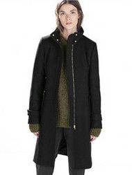 Black Long Stand Collar Slim Wool Coat