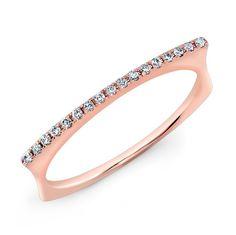 "14KT Rose Gold Diamond Bar Dome Ring Diamond Bar Rings Measures 3/4"" in length"
