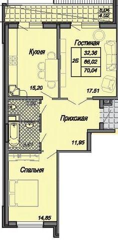 Cданные дома / 2-комн., Краснодар, Тургенева, 3 150 000…