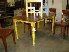 Painted dining room table. Yellow and natural wood top <3 this. $285