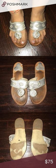Silver Jack Rogers Silver Jack Rogers. Have been worn only a handful of times. They are a matte silver that is why they are not super shiny. I did break them in completely so they are now comfy to wear. I love them but I don't wear them enough to keep them. Jack Rogers Shoes Sandals