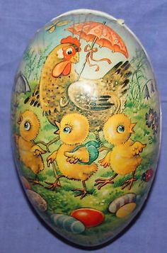 Vintage litho paper mache Easter egg box
