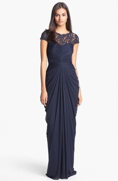 Long navy bridesmaid dress with illusion neckline: Adrianna Papell Lace Yoke Drape Gown $188 at Nordstrom