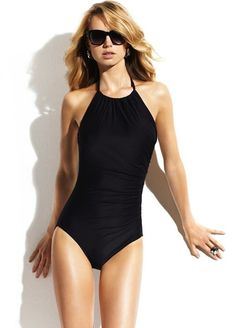 9a25996859ffe High Neck One Piece swimsuit - shirred low back - beautiful Black One Piece  Swimsuit,