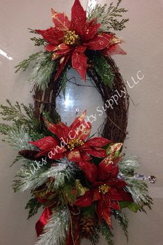 Red and gold poinsettia on grapevine wreath Grapevine Christmas, Christmas Door Wreaths, Christmas Swags, Christmas Poinsettia, Holiday Wreaths, Christmas Ornaments, Grapevine Wreath, Winter Wreaths, Crochet Christmas