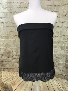 Express Strapless Tube Top Black Lace Trim Small New With Tags C3  | eBay