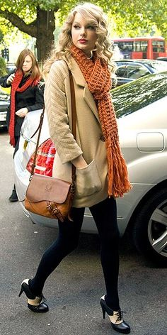 Taylor Swift winter style. love the shoes.