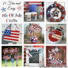 DIY of July crafts are so fun to do and can even involve the kids! I gathered 21 of July crafts that are fun, easy and will help you celebrate this patriotic holiday. 4th Of July Celebration, 4th Of July Party, Fourth Of July, 4th Of July Wreath, 4th July Crafts, Patriotic Crafts, Holiday Crafts, Holiday Fun, Holiday Ideas