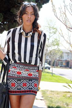Mixing prints  #bold stripes #patterned skirt #style #outfit #chain necklace