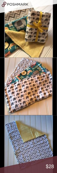 Set of 3 Baby Burp Cloths, Neutral Baby Gift This oversized burp cloth set is the perfect baby shower gift for the new baby in your life! The cloths are soft and super absorbant compared to store bought cloths. The front of the cloths feature colorful Zoo Animals, Neutral Gray Elephants and Chevrons with a yellow terry cloth backing for added absorbency  All fabrics are pre-washed with scent free detergent and top stitched for durability Bundle with baby items only If your item is a gift…