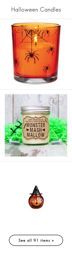 """""""Halloween Candles"""" by adorablequeen ❤ liked on Polyvore featuring home, home decor, holiday decorations, halloween home decor, candles & candleholders, candles, candles & holders, container candles, home & living and home décor"""