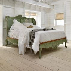Floral caned and hand painted luxury wooden bed