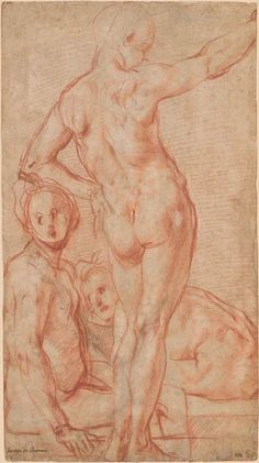 Jacopo da Pontormo | Standing Male Nude Seen from the Back, and Two Seated Nudes. Verso: Striding Nude with Arms Raised | Drawings Online | The Morgan Library & Museum