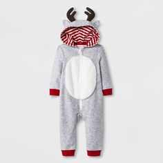 ffe752178b9 Baby Long Sleeve Terry Hooded Reindeer Romper with Critter Ears - Cat   Jack™  Heather Gray Newborn