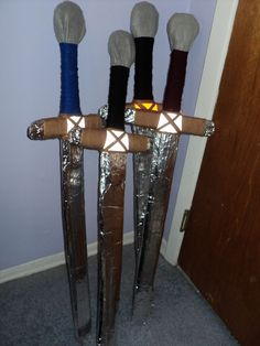 Decorating cardboard swords. Possible activity for the boys.