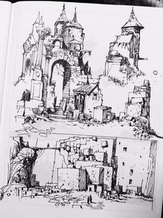Resultado de imagem para ian mcque books pdfa book of drawings Landscape Drawings, Architecture Drawings, Ink Illustrations, Illustration Art, Drawing Sketches, Art Drawings, Environment Sketch, Castle Drawing, Norman Rockwell