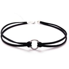 Choker de doble cinta de terciopelo con aro central | Black Double Strand Circle…