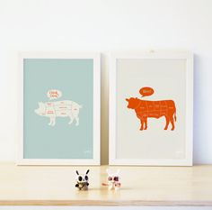 Beef (Cow) & Pork (Pig) Diagram Print. Bright Colors, Modern.