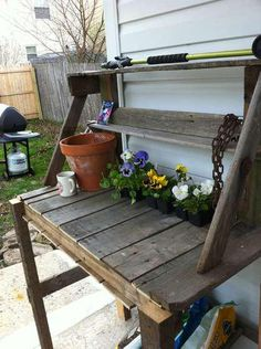 Love this pallet potting table.  http://en.paperblog.com/trash-to-treasure-re-imagining-your-waste-pallets-17468/