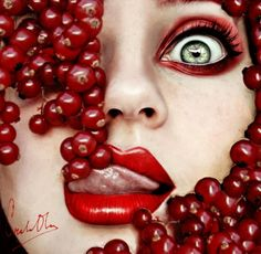 Awesome Tutti Frutti Self Portraits by Cristian Otero. She is a 16 year old female photographer from Spain. Otero used fruit as her inspiration in Tutti Frutti