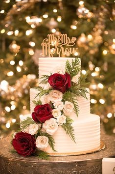 White Wedding Cake with Greenery and Burgundy Roses // winter wedding, cake topper, rustic,