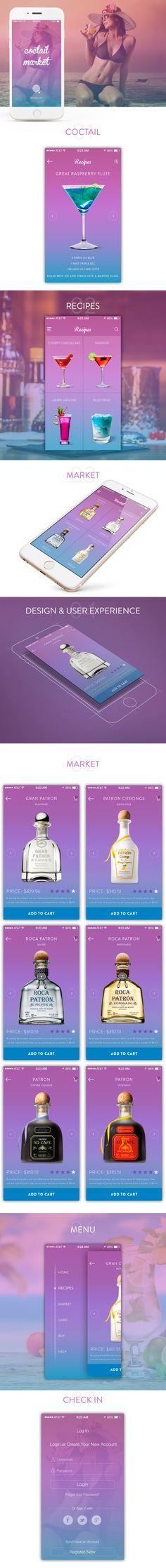 coctail market   Mobile App UX/UI Design - FREE PSD on Behance