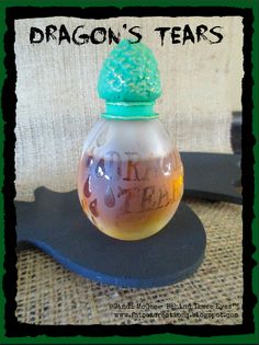 Dragon's Tears Witch's Apothecary bottle for Halloween - made with etchall® and Makin's Clay® no bake air dry polymer clay - made by Cindi Bisson McGee - http://www.makinsclayblog.blogspot.com/2015/09/witchs-apothecary-by-cindi-mcgee.html