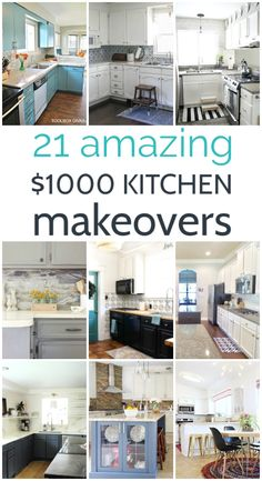 These amazing budget kitchen makeovers all cost less than $1000 and they are filled with creative ideas you can use to remodel any kitchen for cheap. These 21 budget kitchen makeovers are absolutely beautiful and they are packed with amazing inspiration for budget cabinet makeovers, countertops, backsplashes, flooring, and everything else you need to create an amazing kitchen you will love to spend time in. Budget Kitchen Remodel, Kitchen Makeovers, Kitchen On A Budget, House Makeovers, Updating Cabinets, Diy Kitchen Cabinets, Diy Kitchen Decor, Kitchen Design, Kitchen Ideas