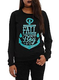 """""""And it's kind of funny the way we're wearing anchors on our shirts when being anchored or bored just feels like a curse"""" -27 (Fall Out Boy) Ofc they made a reference to one of their songs with their band merch :D"""