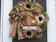 Fall Pumpkin Welcome Deco Mesh Wreath by ClancyArt on Etsy
