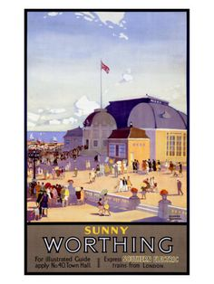 Vintage Travel Poster - UK - Worthing - Railway