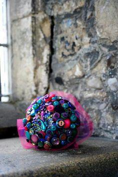 Pretty as a peacock, button bouquet, pink. Teal, purple, blue wedding
