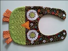 Hoot Owl in Green and Brown Circles-hoot,owl,bib,reversable,handmade,quilted,lined,ribbon,adorable,snap