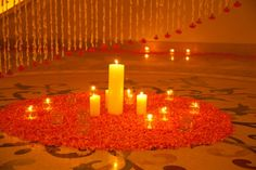 Looks divine - and really calms you down, just looking at it. A beautiful but simple #Indian wedding decoration idea with candles and flowers