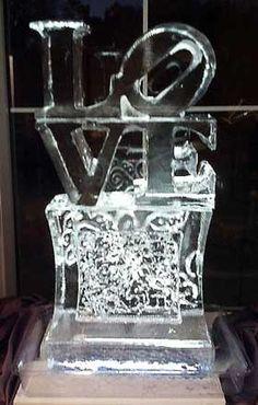 """LOVE"" wedding ice sculpture"