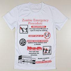 The Walking Dead T-Shirt - Zombie Emergency Procedure Graphic Tee The Walker Store    http://thewalkerstore.com/zombie-emergency-procedure-graphic-tee/