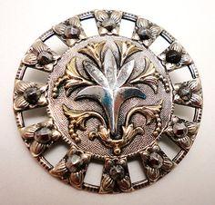Antique XL White Metal Open Work Button with Brass Accents Cut Steels | eBay