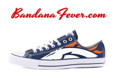 Custom Broncos Converse Shoes Low Navy, #Broncos, #broncoscountry, #gobroncos, by Bandana Fever  #sports #football #Shoes #Run #NFL #BFLA #Nike #nikeshoes #sportsnation #love