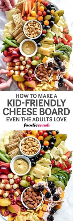Here are my top 10 tips for creating the ultimate kid-friendly cheese board that kids will love and the host will serve proudly at the main table | foodiecrush.com #cheeseboard #cheeseplatter #cheese #board #appetizer #partyplatter