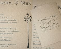 Vintage recycled paper wedding invitations and save the date postcards