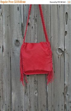 ON SALE Red leather crossbody bag  Red leather by thunderrose