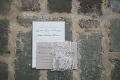 invitations with a romantic lace wrap by http://www.etsy.com/shop/AnnaSkates  Photography by wephotographie.com