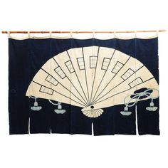 View this item and discover similar for sale at - Antique Japanese indigo theatre noren with a decoration of a fan. Found in Nagano and used on festival occasions as a stage backdrop for the performance Japanese Prints, Japanese Fabric, Japanese Art, Diy Fan, Weaving Textiles, Art Furniture, Asian Art, Shadow Box, Textile Art