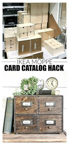 A basic IKEA Moppe storage chest gets an inexpensive makeover to resemble the look of a 4 drawer vintage card catalog. Farmhouse Style Kitchen, Modern Farmhouse Kitchens, Farmhouse Decor, Ikea Furniture, Shabby Chic Furniture, Furniture Storage, Repainting Furniture, Furniture Projects, Ikea Hacks