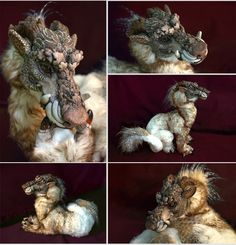 Foo-Owl-Dragon Skolg by on DeviantArt Cute Fantasy Creatures, Mythical Creatures, Beautiful Creatures, Animal Sculptures, Lion Sculpture, Clay Sculptures, Soft Sculpture, Mystical Animals, Paperclay