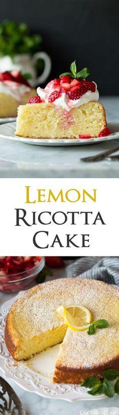 Lemon Ricotta Cake - an absolutely delicious dessert! Perfect for spring or summer. #cake #ricottacake #lemoncake #cookingclassy #easter