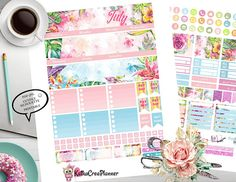 Printable July Monthly View Stickers, Planner Stickers for Erin Condren Vertical Life Planner, July Monthly Kit, Summer Stickers, Filofax